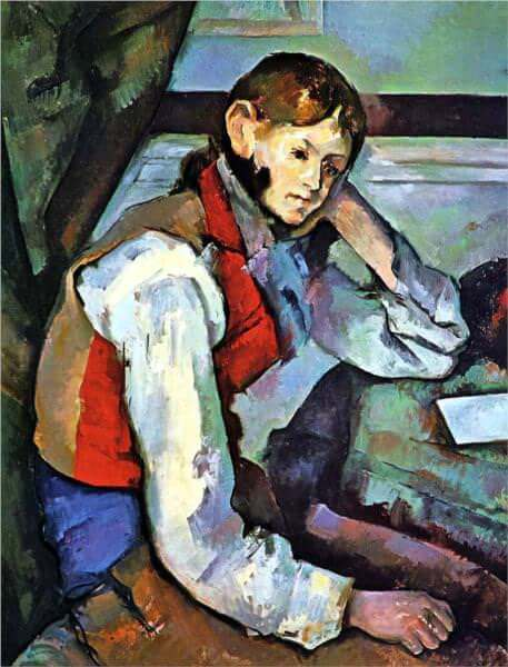 Boy in a red vest 1889 - by Paul Cezanne