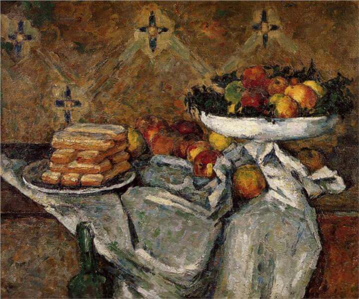 Compotier and plate of biscuits - by Paul Cezanne
