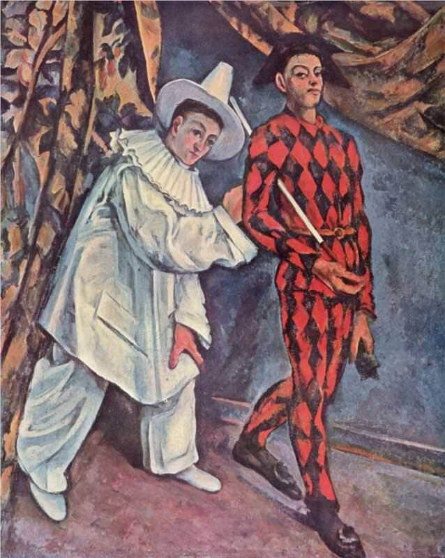 Pierrot and Harlequin, 1888 - by Paul Cezanne