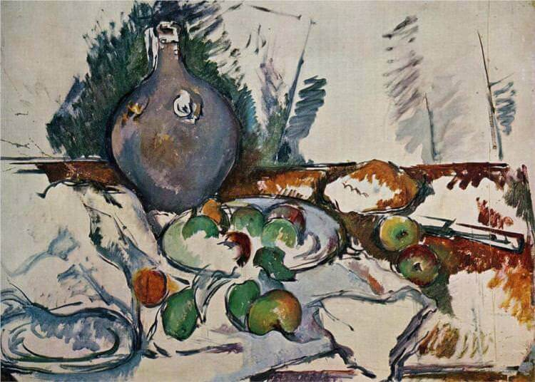 Still life with water jug - by Paul Cezanne