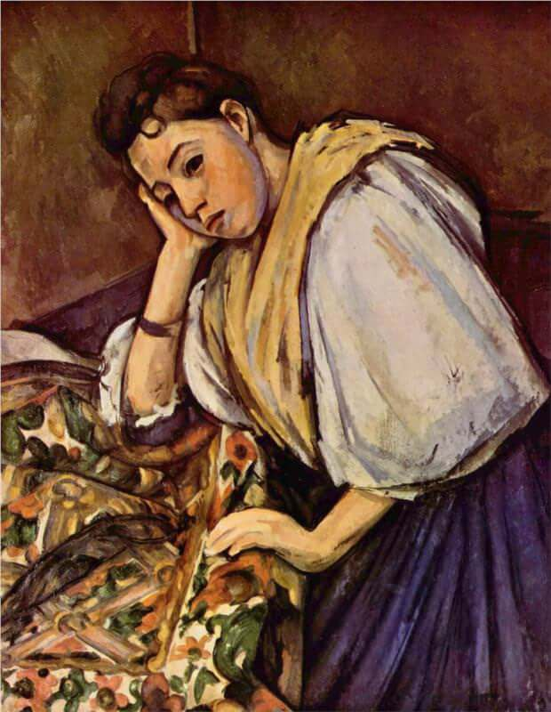 Young Italian Girl Resting on Her Elbow, 1889 - by Paul Cezanne